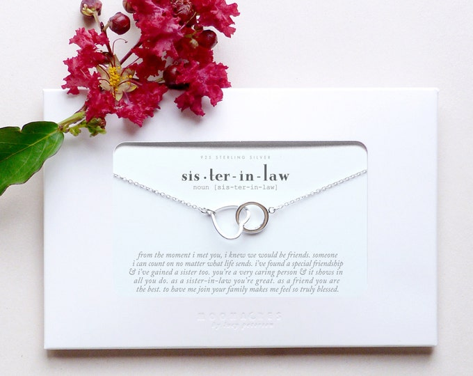 Sister In Law | Sister-in-Law Wedding Bride Thank You Gift For Sister of the Groom | Sterling Silver Heart Circle Necklace Poem Message Card