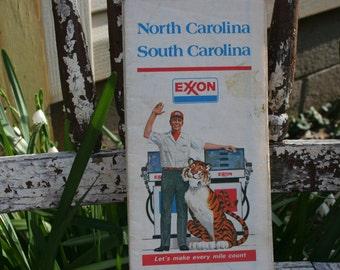 Vintage 1977 Map North Carolina - South Carolina