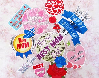 Mothers Day stickers. Stickers for Mothers Day. Paper stickers. Vinyl Stickers. Stickers for decoration. Mother Day present. Gift idea. Cute