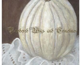 White Pumpkin, Halloween Art, Fall Art, Thanksgiving Art, Broderie Anglaise Art Print