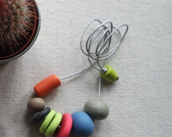 Handmade Polymer Clay Necklace Neon Metallic