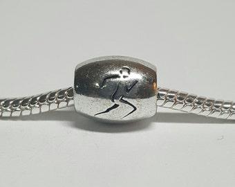 Silver Runner Charm for European Bracelets (item 003)