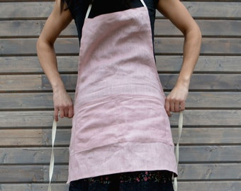 Linen kitchen apron with pockets, full linen apron, linen woman apron, romantic pink linen apron