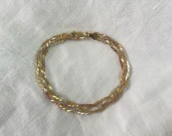 Tri-Colored Herringbone Bracelet, Tri Color Sterling Silver Bracelet, Made in Italy, Livior Bracelet, Italy 925