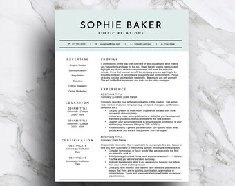 Green Resume Template for Word | CV Template | Professional Resume Design | 2 Page Resume | Cover Letter | Mac or PC | Instant Download