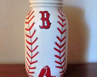 Hand-Painted Mason Jar Piggy Bank featuring Boston Red Sox Baseball, Team Customizable