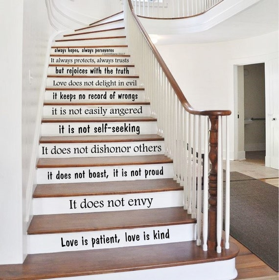 stair decals quotes love is stairway decals quote vinyl. Black Bedroom Furniture Sets. Home Design Ideas