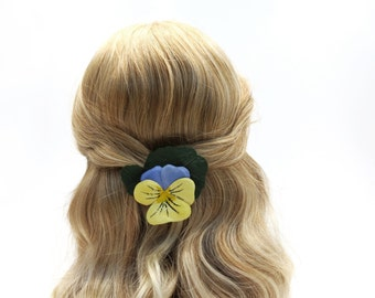 Paper Pansy Hair Clip - Bue Yellow Hair Flower - Pansy Brooch