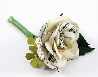 Sheet Music Rose - Grooms Buttonhole - Boutonniere