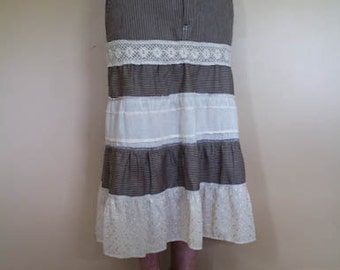 Tiered Skirt - Brown and Tan