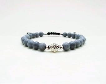 Bracelet Mashan Jade & Argent - Bracelet homme Argent et perles semi-précieuses