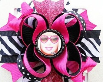 4.5 Layered Boutique bottlecap hairbow Barbie
