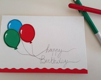 Happy birthday card with balloons POP UP-custom-