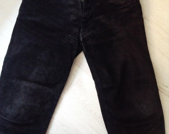 Black leather vintage trousers