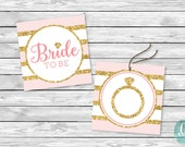 Glitter DIY Printable Tag Bride To Be Sweet Love Engagement Bridal Shower Party Wedding Ring Bridesmaid Printable Sticker Cupcake Topper