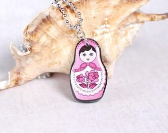 Matryoshka Pendant Pink Matryoshka Necklace Matryoshka Doll Pendant Russian Doll Necklace Matryoshka Jewelry Pink Babushka Pendant Gift