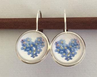 Dementia Awareness Forget-Me-Not Flower Heart Earrings