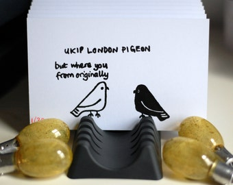 London Pigeon - UKIP London Pigeon - Limited Edition Hand-Pulled Gocco Print (Run 35) - Black on 90x140mm 250gsm Heavyweight Postcard