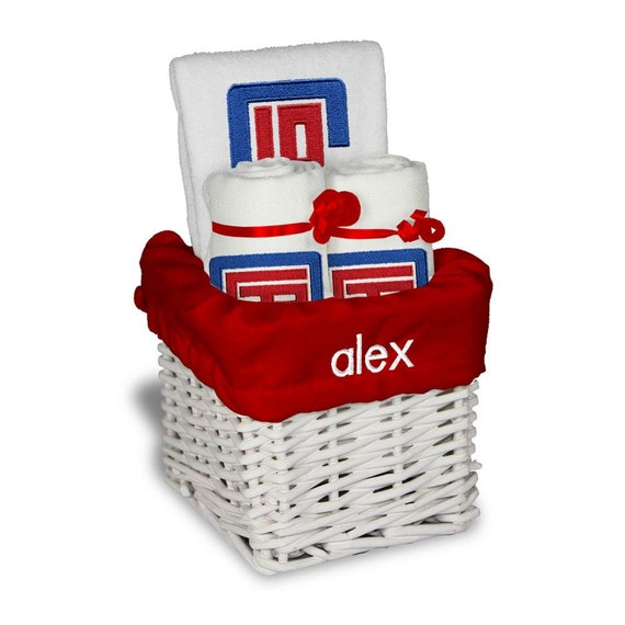 Baby Gift Los Angeles : Personalized los angeles clippers baby gift basket bib