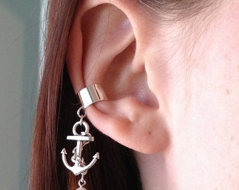 1 Pc Antique Silver Anchor Ear Cuff Nautical Charm Earring Clip On No Piercing Silver Plated Chain White Pearl Jewelry