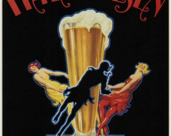 beer itala pilsen vintage ad poster italy 1920 24X36 top quality VERY RARE!