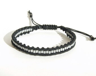 hematite and macrame bracelet hand made bracelet handwoven jewellery