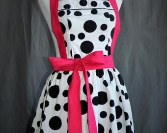 Flirty womans polka dot apron - retro full cooking kitchen apron black and white polka dots hot pink