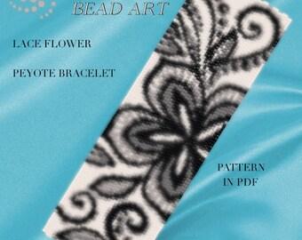 Pattern, peyote bracelet - Lace flower peyote bracelet pattern in PDF -instant download
