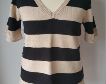 Knitted Black and Oatmeal stripe Top