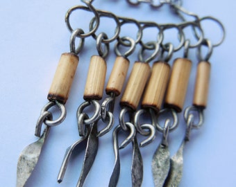 Alpaca Silver Bamboo Boho Bohemian Chain Link Surgical Steel Necklace