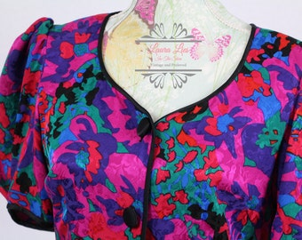 Silk 80s Floral Power Dress Size S