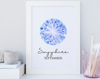 September wall art print, Sapphire wall art, printable september, birthstone sapphire art, Ocean blue geometric print, Gemstone print