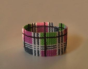 Beaded Spring bracelet, Seed Beads, Pink, Green, Blue