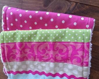 Baby Girl Burp Cloth, Modern Burp Cloths, Pink Burp Cloth Set