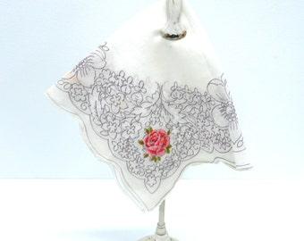 Vintage 1940s Handkerchief...Floral & Pink Rose Scroll Hankie...Purple Scroll...Scalloped Edges