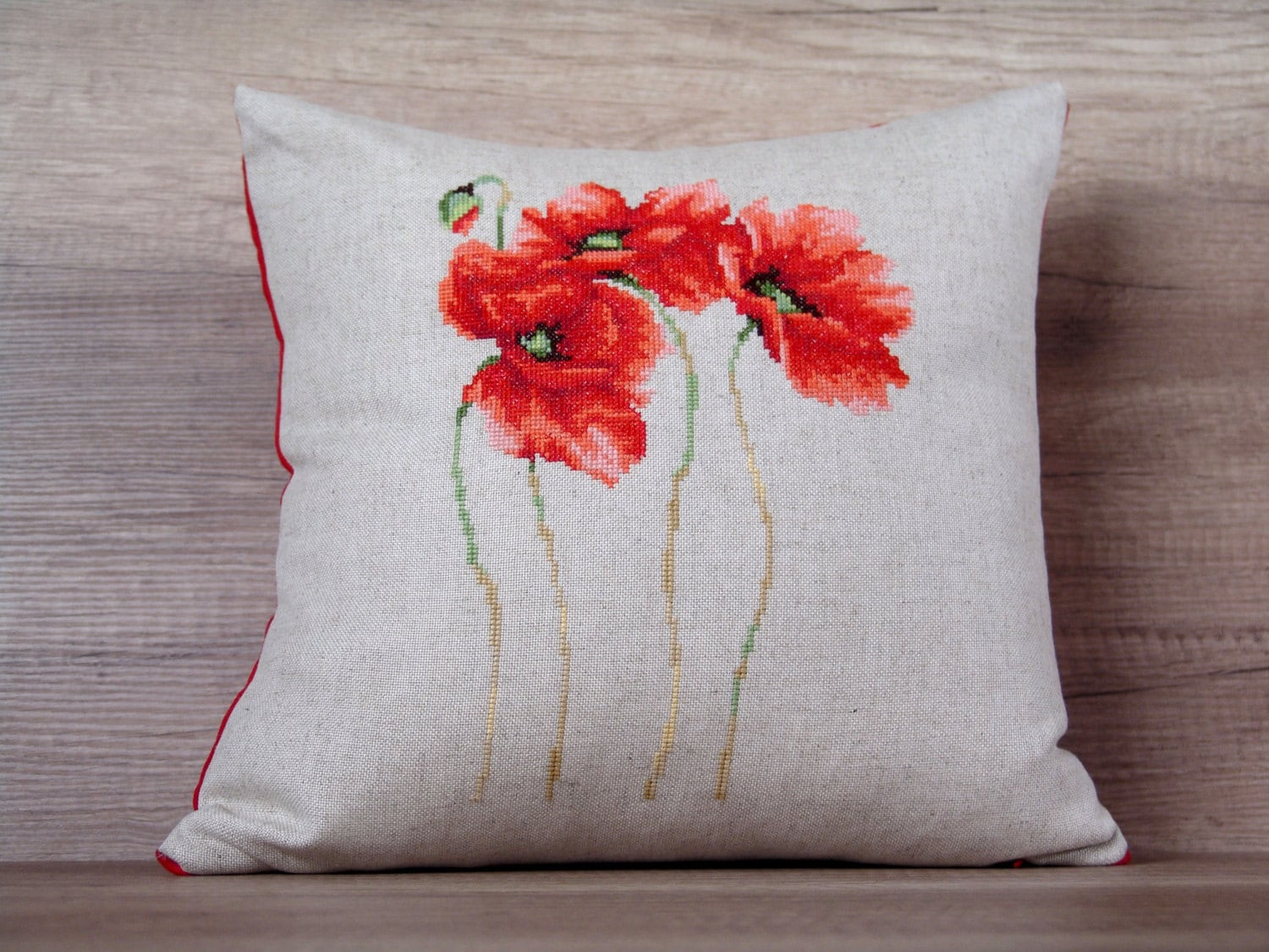 Red Poppy Decorative Pillow : Red poppy flowers cross-stitch throw pillow case gift