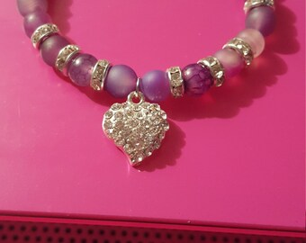 Purple Beaded Heart Charm Bracelet