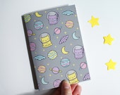 A6 Space Cat Notebook, Small Lined Notepad, Stationery Gift, Writer, Lists