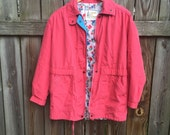 Amazing hot pink vintage london fog coat eith teal and floral lining size womens medium