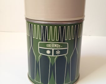 Vintage 1970s Thermos Brand Olive Green And Black 10oz Thermos In Pristine Condition