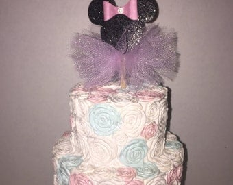 Glitter Black & Pink Minnie Mouse Cupcake toppers