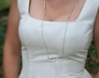Bridal long necklace, Swarovski crystal