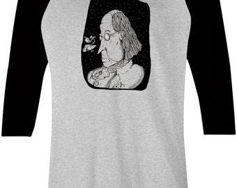 Ben Franklin Baseball Tee - Black Ink Philly Art Design Shirt - Philly Graphic Design Art Tshirt by Local Artist - 1005