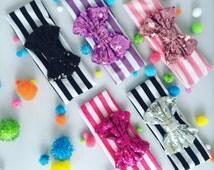 Sequin Bow Headband / Babygirl Headband / Sequin Bow / 5 Colors
