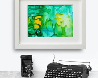 Original abstract alcohol ink painting - Modern abstract ink painting- Green and blue painting - Yellow Green Abstract art
