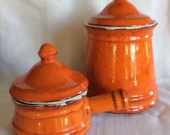 Vintage beautiful deep Orange color canister jar and onion soup bowl ceramic by GT Ecanada Genin Trudeau mark