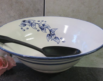 bowl, serving bowl, blue bowl, serving dish, pottery bowl, made in Montana, western bowl, blue leaf bowl, stoneware