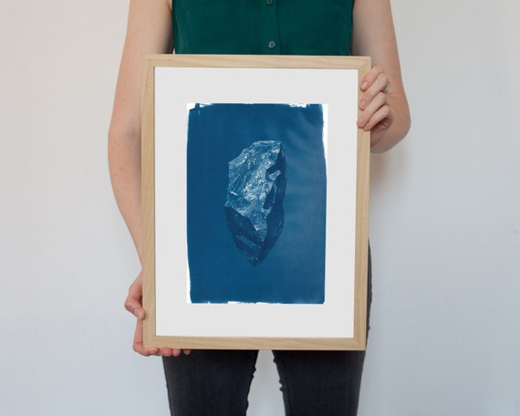 Digital Low-Poly Rock, Cyanotype Print on Watercolor Paper, A4 size
