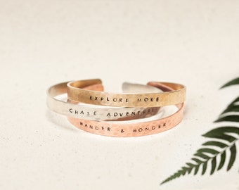 Inspirational Stacked bracelets | Pack of 3 bracelets | Wander & Wonder | Chase adventure | Explore more | Travel | Explorer | Wanderlust