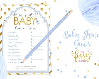 Price is Right Baby Shower Game, Baby Shower Games, Printable Baby Shower Game, Instant Download, Printable Games, Blue and Gold